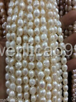 """8-9MM White irregular freshwater Cultured pearl loose beads 13"""""""