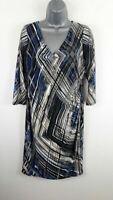WOMENS ANNE KLEIN DRESS BLACK/BLUE/CREAM 3/4 LENGTH SLEEVE SIZE UK 12