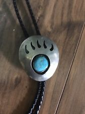 Navajo sterling silver Signed Bolo Bear Paw With Turquoise