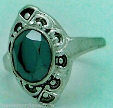 BEAUTIFUL VINTAGE ESTATE FACETED HEMATITE STERLING SILVER RING SZ 8.25