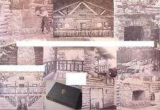 1944 RL.LOG CABIN.building frame framing timber Fireplace stone window door WALL