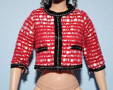 Red & White Shirt Top w/ 1/2 Sleeves & Black Trim Genuine BARBIE Fashion Clothes