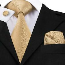 USA Classic Solid Men's Tie Set Champagne Gold Yellow Silk Necktie Wedding Set