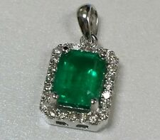 1.38 Cts Colombian Emerald & Diamond .20 Dtw. Halo Pendant 14K White Gold