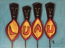 Hana Huna Vintage Tiki Luau Sign Original Painting Retro Mid-Century 12x9