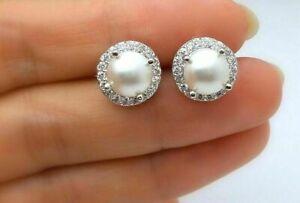2.20 Ct Round Cut Pearl & Diamond Halo Stud Earrings 14k White Gold Finish