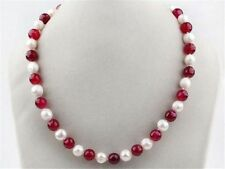 """7-8mm White Freshwater Pearl and Red 8mm Ruby Round Beads Necklace 18"""" JN161"""