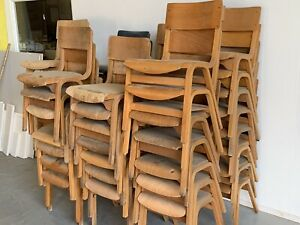 Job Lot Of 50 x Clearance Vintage Wooden School Chairs For Restoration / Repair