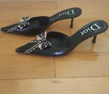 Christian Dior Pink And Black Pointy Mules Size  39.5
