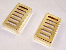MATCHED PAIR OF  METAL NEO TRADITIONAL TOASTER HUMBUCKER PICKUP COVERS / GOLD
