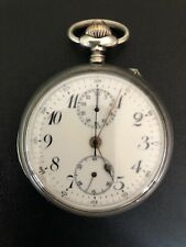 Pocket Watch Chronograph Silver Working Perfect 1900/1930