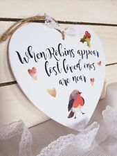 Robins appear Christmas memory heart plaque loved one gift present memorial