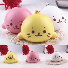 Cute Expression Cat Ball Squishy Soft Bread Cell phone Straps Bun Key Chains New
