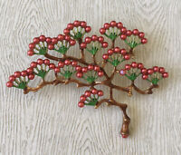 Vtg Style Japanese Tree Pin brooch in enamel on gold tone metal w/faux pearl