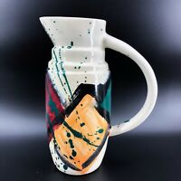 "Vintage Art Pottery Pitcher Hand Painted Modernist Design Multi Color 9 3/4"""