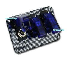 Blue 3 Toggle Switch BOAT LED ILLUMINATED Cover LED Light Rocker Panel 12V