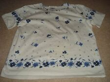 Women's Talbots Cotton Spandex T-Shirt Tee Blue Flowers Summer Floral Design S
