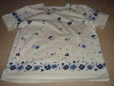 Women's Talbots Cotton Spandex T-Shirt Tee Blue Flowers Summer Floral Design S