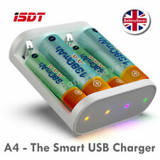 USB Battery Charger for AA and AAA NiMH Rechargeable Batteries - The ISDT A4