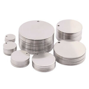 10x Stainless Steel Round Metal Stamping Blank Tag Charms Pendants Diy Jewelry