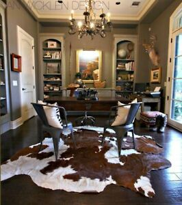 S-XXL 100% COWHIDE LEATHER RUGS TRICOLOR COW HIDE SKIN CARPET AREA 12-35 SQ FT