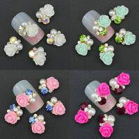 10 Pcs Nail Art  Alloy Rhinestone Pearl Flower Decoration DIY Glitter Jewelry