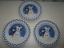 "Lot of 3 Disney China Mickey Mouse Snowman White Checkerboard Plate 9"" NWT"