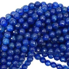 8MM Natural Faceted Sapphire Blue Jade Round Gemstone Loose Beads 15'' AAA