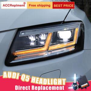 2Pcs For Audi Q5 Headlights assembly Bi-xenon Lens Projector LED DRL 2009-2018