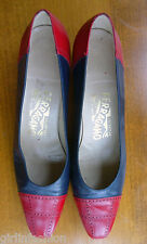 Vintage 1970's Salvatore Ferragamo Navy And Red Shoes, Made In Italy Size 8.5
