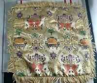 Vintage Oriental Silk Small Table Cloth Tapestry Brocade Place Mat Square Asian
