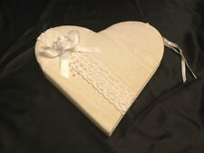 Eternity Heart Guest Wedding Guest Book Fabric Lace & Pearls