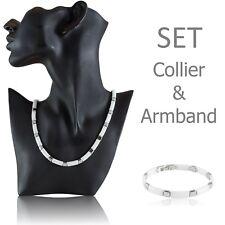 SET Kette/Collier & Armband Modell FLATT weiß Ceramic Keramik Keramic Edelstahl