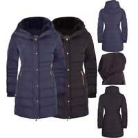 Women's Designer Winter Parka Quilted Coat Fur Collar Hooded Long Ladies Jacket