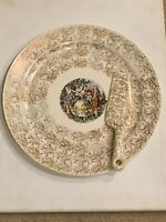 Atlas China 22 Karat Gold Nautilus Serving Plate Pie Knife Colonial Scene