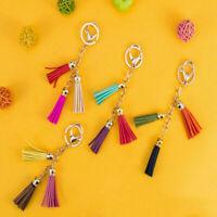 Women Leather Tassel Keychain Purse Bag Buckle HandBag Jewe Pendant Keyring N8Y4