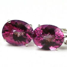 • E107, 10x8mm Pure Pink Topaz, 14k White Gold Leverback Earrings Handmade