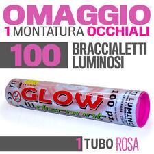 100 BRACCIALETTI LUMINOSI ROSA fluo DJ starlight dj strobo BRACCIALI LUCE 30335