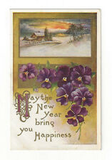 """Vintage Postcard """"May the New Year Bring You Happiness"""" House Snow Scene Violets"""