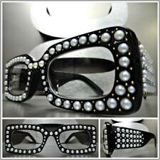 CLASSIC VINTAGE RETRO Style Clear Lens EYE GLASSES Thick Black Frame Bling Pearl