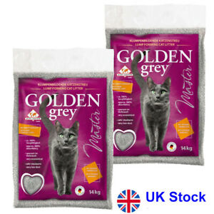 Economy Pack: 2 x 14 kg Golden Grey Master Extra-Clumping Cat Litter Low in Dust