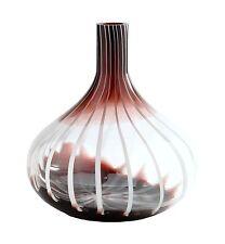 "New 14"" Hand Blown Art Glass Teardrop Vase Black White Clear Decorative"