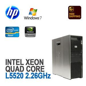 HP Z600 Workstation 1x Quad Core XEON L5520/12G DDR3/500G/FX1700 Win 7 Pro NEW