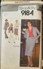 Vtg Simplicity pattern 9184 Misses' Skirt, Pants, & Cardigan-Jacket size 10