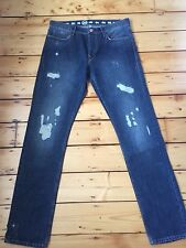 "BNWT EARNEST SEWN MENS KYRRE SLIM TAPER DISTRESSED JEANS MADE IN USA 32"" X 32"""