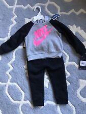 Nike Baby Toddler Girl Size 24 Month Long Sleeve Jogging Set NWT Gray/Black/Pink