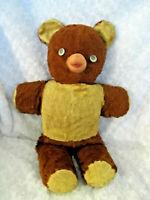 """Vintage Teddy Bear Plush Rubber Face/Nose Googly Eyes 22"""" 195O's"""