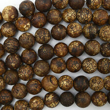 """10mm matte brown Tibetan DZI agate round beads 14"""" strand"""