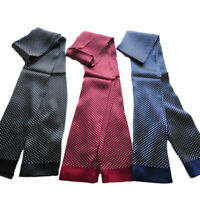 Elegant  Men's 100%Pure Silk Double Layer Silk Polka Dot Long Scarf Black Blue