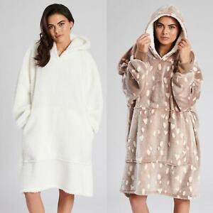 Oversized Blanket Hoodie Soft Fleece Long Hooded Snuggle Lounge Jumper